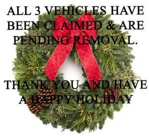 Holiday Giveaway! - FREE 3 Abandoned Vehicles!...