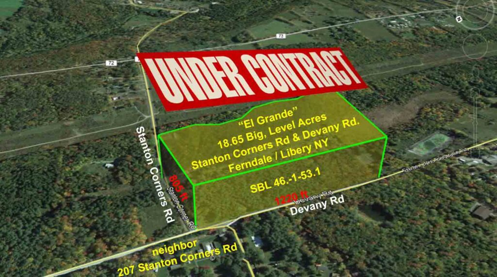 """""""El Grande"""" For Sale 18.65 Big, Level Acres – Corner Lot – Part wooded/Part cleared – Stream – Driveway – Electric – 2 hrs/NYC. Only $39,900"""