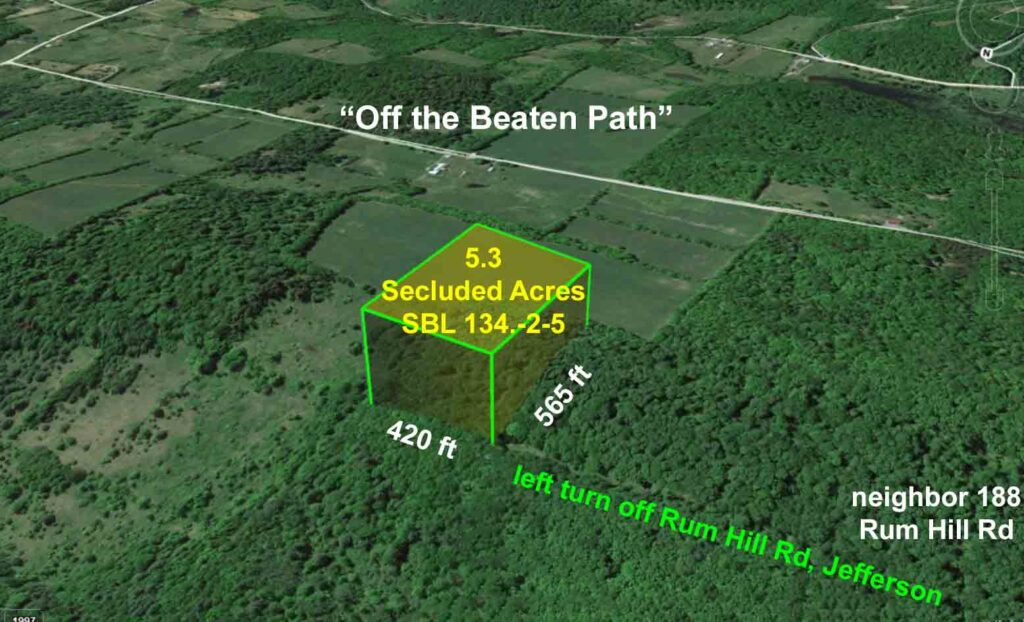 """OFF THE BEATEN PATH"" – Offering  5.3 Private Acres, Jefferson, NY – Private Rd – Wooded – RV's & Mobile OK  – 3+/hrs/NYC. Only $14,900!"