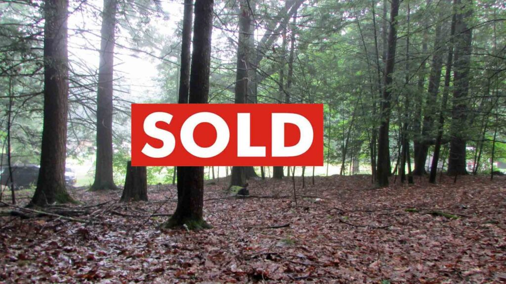 """""""KOZY"""" in Kerhonkson – Offering  1.12 Kozy Acres, Kerhonkson, NY – Private Rd – Level & Wooded – Great Location  – Mins/Minnewaska – 2/hrs/NYC. Creek rights. Only $14,900!"""